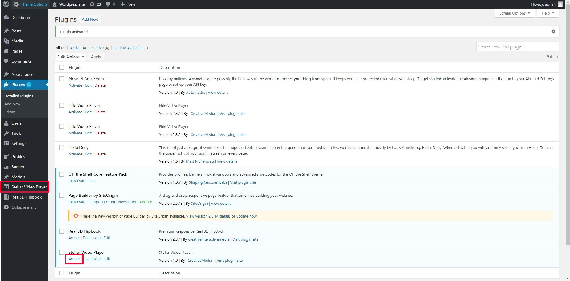 Stellar Video Player - WordPress plugin